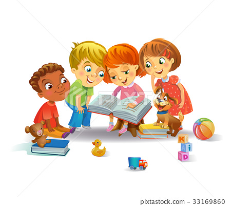 Cute children reading books 33169860