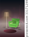 Lamp illuminate armchair with newspaper 33171299