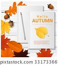 Hello autumn with blank notebooks on wooden board 33173366