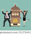 Slot machine jackpot with celebrate man and woman 33173441
