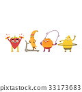 Funny fruit and berry characters doing sport 33173683