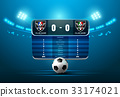 soccer football with scoreboard and spotlight 33174021