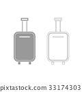 Luggage bag grey set icon . 33174303
