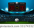soccer football field with scoreboard spotlight 33174332