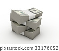 wads of dollars. 3d image. Isolated  33176052