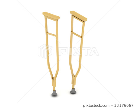 pair of crutches orthopedic equipment isolated 33176067