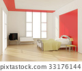 interior of modern bedroom. 3D illustration 33176144