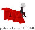 Tax. 3d illustration of human character. 33176308