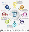 Infographic template with construction icons 33179306