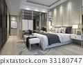 luxury modern bedroom suite in hotel wardrobe 33180747
