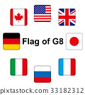 스마트 폰의 아이콘과 같은 국기 그림 | G8 (주요 국가 국기) 33182312