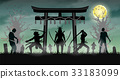samurai attack zombie with japan style temple gate 33183099
