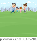 Hand holding family 2 generations Walking Park 33185204