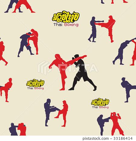 Thai boxing. Muay Thai martial art vector i 33186414