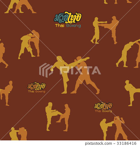 Thai boxing. Muay Thai martial art vector i 33186416