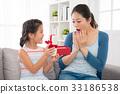 asian little girl sending gift red ribbon gift box 33186538