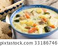 Potato soup with turkey and zucchini. 33186746