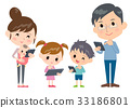 family 2 generations internet communication wide 33186801