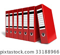 Row of red office folders 33188966