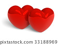 Couple of red glossy hearts 33188969