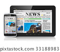 Tablet PC and smartphone with business news 33188983