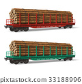 Railroad flatcars with lumber 33188996