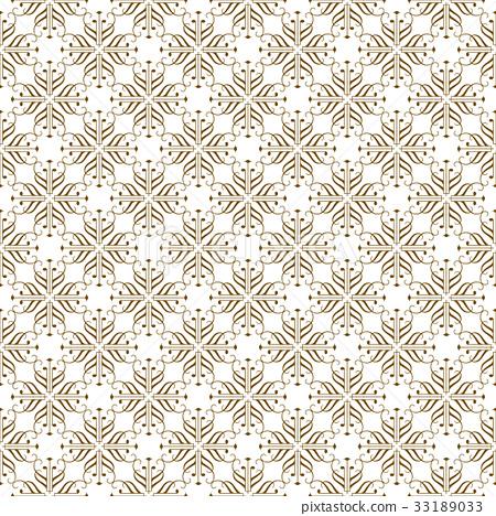 Beige Seamless Damask Pattern Backdrop. Vector. 33189033