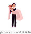 Vector groom carrying bride holding in his arms 33191080