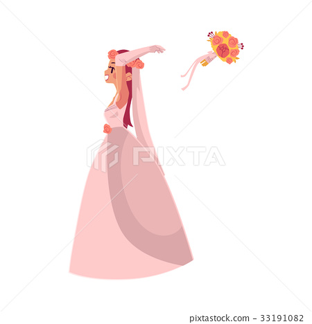 Vector bride throwing her bouquet isolated 33191082