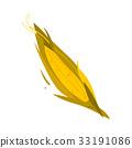 Cartoon, flat style corn cob, ear with leaves 33191086