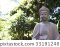 優しい表情の仏陀、新緑の木漏れ日を背景に。 33191240