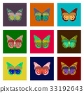 set of flat shading style icon butterfly 33192643