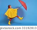 child with red umbrella 33192813