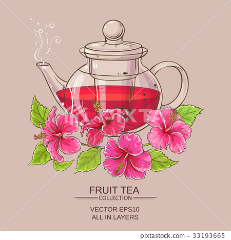 hibiscus tea in teapot 33193665