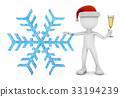 man in a santa hat and snowflake 33194239