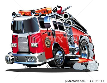 Vector cartoon firetruck 33195614