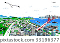 Seaside town and traffic white background 1 33196377