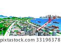 해안 도시와 교통 흰색 백 2 33196378