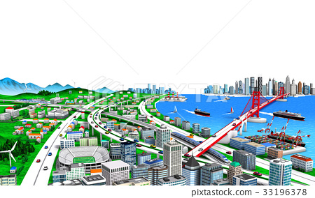 Seaside town and traffic white background 2 33196378