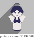 flat icon with long shadow Christmas angel 33197808