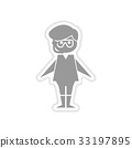 paper sticker on white background boy in diving 33197895