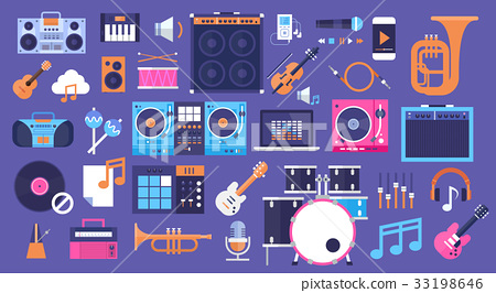 Seamless Pattern Music Instruments And Equipment 33198646