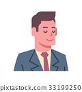 Male Closed Eyes Emotion Icon Isolated Avatar Man 33199250