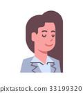 Female Closed Eyes Emotion Icon Isolated Avatar 33199320