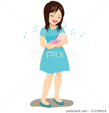 Mom Rocking Baby 33199628