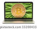 Bitcoin mining concept with laptop, 3D rendering 33200433