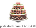 Chocolate Birthday Cake with candles on stand 33200438