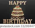 Happy Birthday concept. Golden inscription 33200447