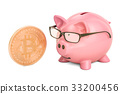 Piggy bank with bitcoin, 3D rendering 33200456