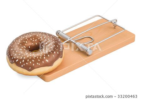 Sugar Addiction concept. Chocolate donut 33200463